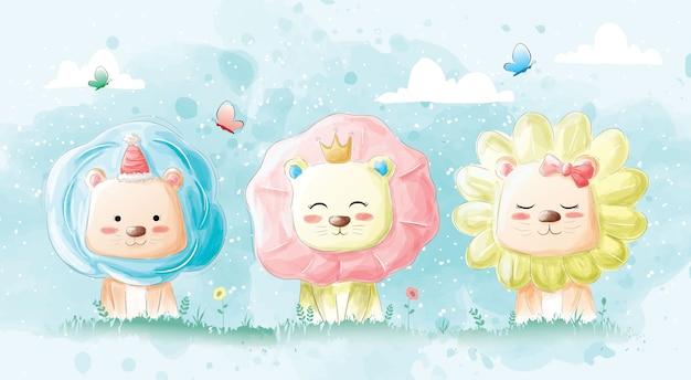 Süße löwen und glücklich lächeln