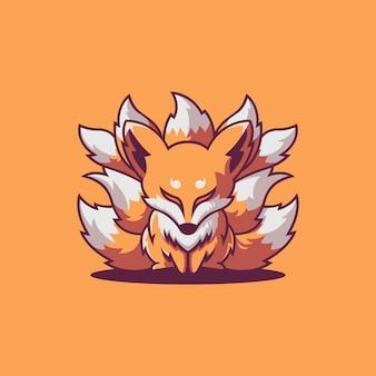 Süße logoillustration des mythologischen kleinen fuchses oder kitsune