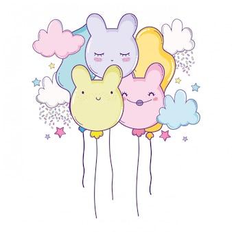 Süße luftballons mit ohren geformt