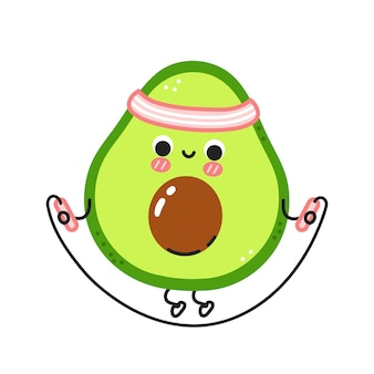 Süße lustige avocado machen fitnessstudio mit springseil