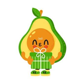 Süße lustige avocado mit gesicht halten geschenkbox. karikatur kawaii