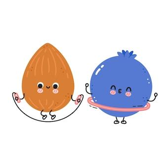 Süße lustige blaubeere machen fitnessstudio