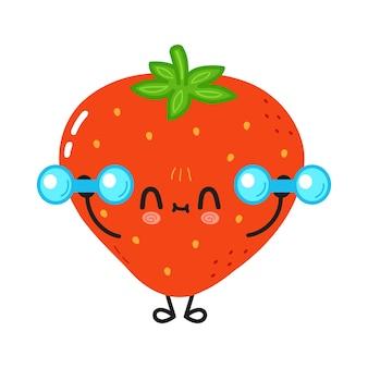 Süße lustige erdbeere mit hanteln