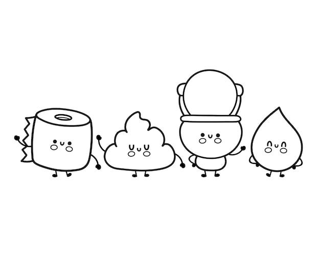 Süße lustige fröhliche weiße toilettenschüssel, papierrolle, urintropfen und poop-set. vektor-cartoon kawaii charakter abbildung symbol. isolierte umriss-cartoon-illustration für malbuch