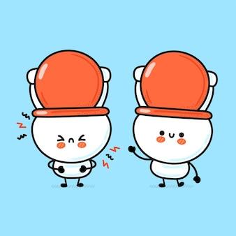 Süße lustige glückliche weiße toilettenschüssel Premium Vektoren