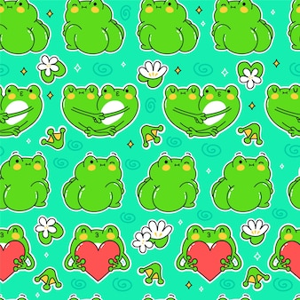 Süße lustige grüne frösche nahtlose muster