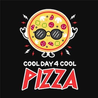 Süße lustige pizza mit sonnenbrille