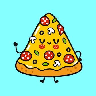Süße lustige pizza winkender handcharakter