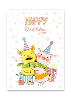 Süße lustige schweine umarmen sich alles gute zum geburtstag grußkarten im cartoon-stil vector iillustration