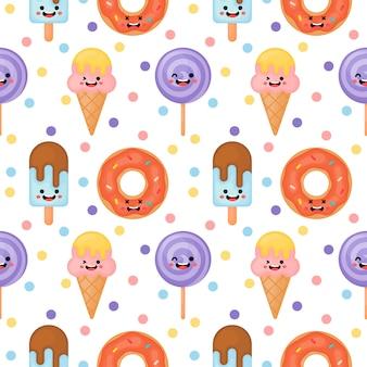 Süße lustige süßigkeiten nahtlose muster