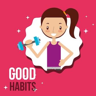 Süße mädchen aktivität lebensstil gute gewohnheiten