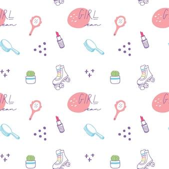 Süße mädchen sachen doodle hintergrund