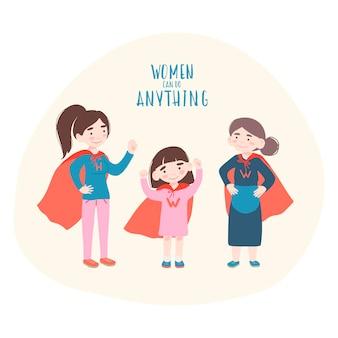 Süße mädchen und alte frauen im superheldenkostüm. feminismuskonzept frauen können alles tun