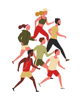 Süße männer und frauen in sportkleidung beim joggen oder laufen
