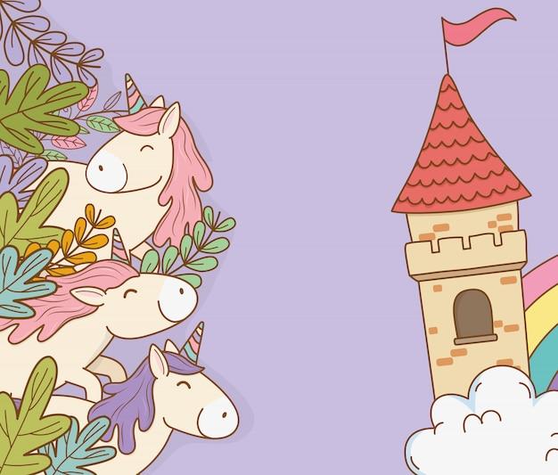 Süße märchenhafte einhörner mit burgfiguren