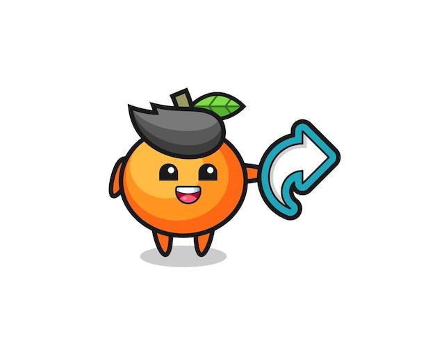 Süße mandarine halten social-media-share-symbol, niedliches design für t-shirt, aufkleber, logo-element