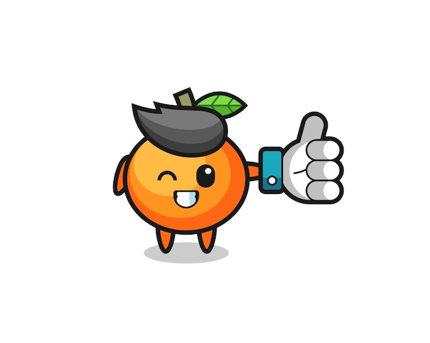 Süße mandarine mit social-media-daumen hoch symbol, süßes design für t-shirt, aufkleber, logo-element
