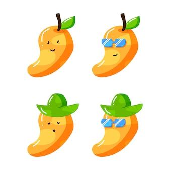 Süße mango-cartoon-figur mit hut und sonnenbrille im flachen handgezeichneten stil
