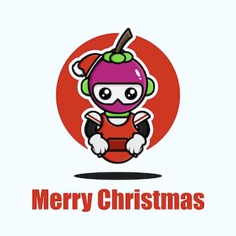 Süße mangostane, die weihnachten feiert