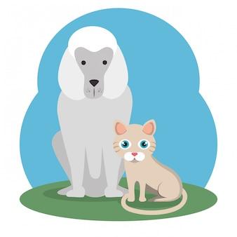 Süße maskottchen und zoohandlung symbole