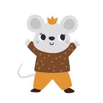 Süße maus in der krone kleine mäuseprinz babytierillustration für kinder