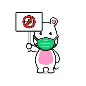 Süße maus mit maske stoppen coronavirus cartoon-vektorsymbol-illustration. design isolierte flache cartoon-stil.