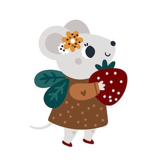 Süße maus mit süßer erdbeere babytierillustration für kinder kleine mäuse mit früchten