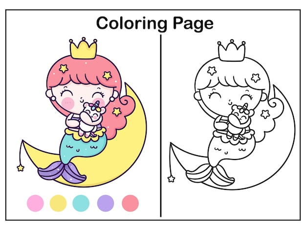 Süße meerjungfrau färbung prinzessin umarmung einhorn auf süßem mond kawaii tier
