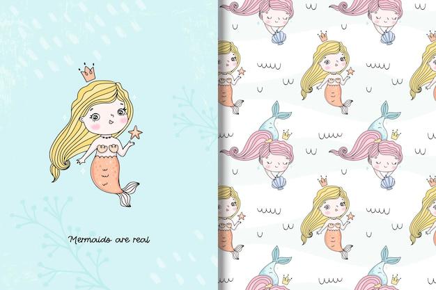 Süße meerjungfrau-karte und nahtloses muster in handgezeichneter stilillustration für kinder