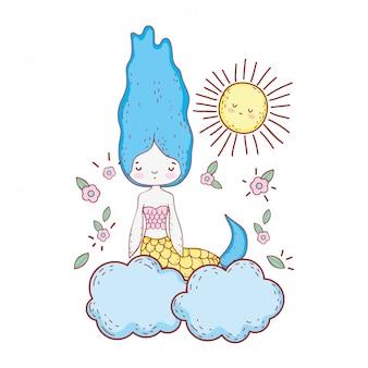 Süße meerjungfrau mit blumen in der wolke