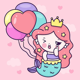 Süße meerjungfrau-prinzessin-karikatur, die geburtstagsballon-party kawaii illustration hält