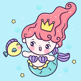 Süße meerjungfrau-prinzessin-karikatur-schwimmen mit kleinem fisch-kawaii-tier