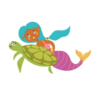 Süße meerjungfrau schwimmt schildkröte