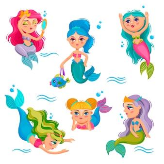 Süße meerjungfrauen entzückendes mädchen meer kleine prinzessin unterwasser fabelwesen cartoon set