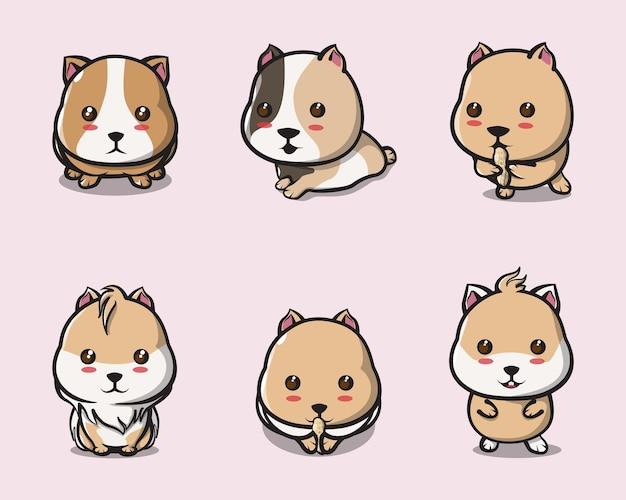 Süße meerschweinchen, die verschiedene posen für logos, poster, bilder, hintergründe und maskottchen spielen