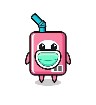 Süße milchbox-karikatur, die eine maske trägt, süßes design für t-shirt, aufkleber, logo-element