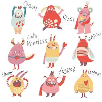 Süße monster schönes monster-set für kinderdesigns