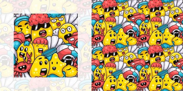Süße monsterfamilie am sommerstrand nahtlose doodle-muster
