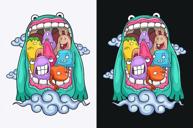 Süße monsterfiguren mit großen mündern