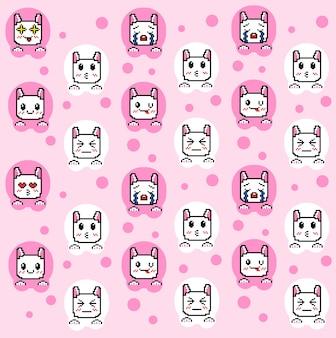 Süße muster-emoticons mit pixel-art-stil