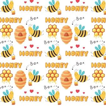 Süße muster fliegende arbeiterbienen fliegen zum bienenstock. baby digitales vektorpapier mit gelben zuckerhonigprodukten