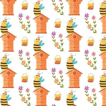 Süße muster-honigkönigin. digitales vektorpapier für kinder mit gelb-schwarz gestreiften insekten