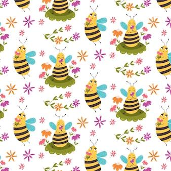 Süße musterbiene, die unter blumen sitzt. digitales vektorpapier für kinder mit gelben zuckerinsekten