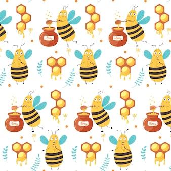 Süße musterbiene isst honig. digitales vektorpapier für kinder mit gelben zuckerinsekten