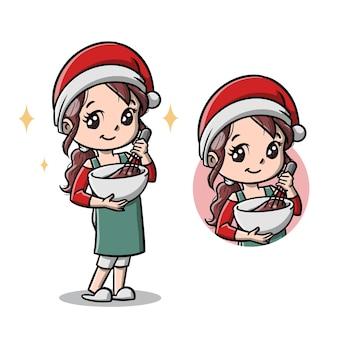 Süße mutter mit ihrem weihnachtskuchen-cartoon