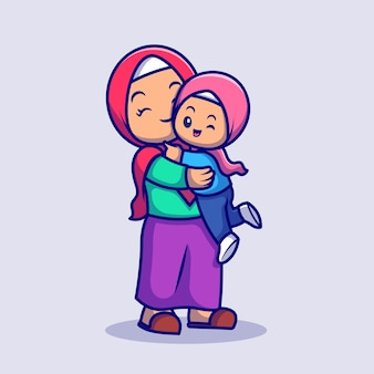 Süße mutter und tochter moslem feiern eid mubarak cartoon vektor icon illustration. menschen religion symbol konzept isoliert premium-vektor. flacher cartoon-stil