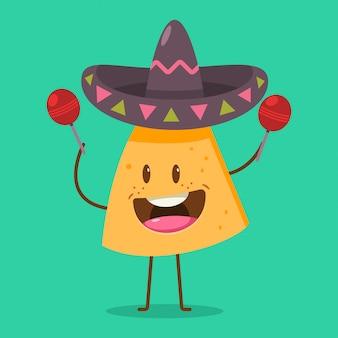 Süße nachos-figur in sombrero mit maracas. lustige mexikanische lebensmittelkarikaturillustration an lokalisiert.