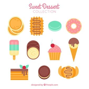 Süße nachtischansammlung in der flachen art