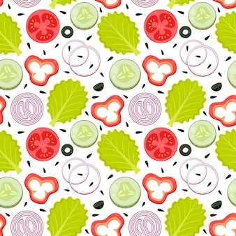 Süße nahtlose muster gemüse essen salat zwiebelringe paprika gurke oliven tomatensamen