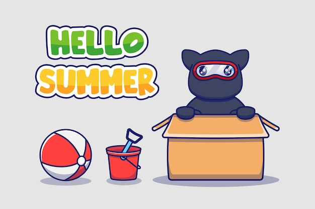 Süße ninja-katze mit hallo sommergruß